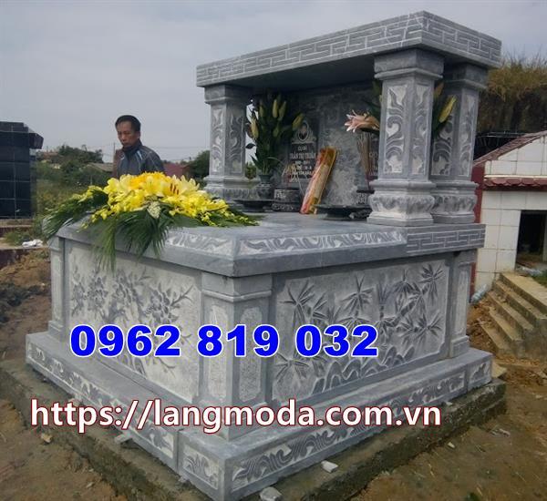 mộ đôi bằng đá đẹp thiết kế kiểu có mái che tại Đồng Nai