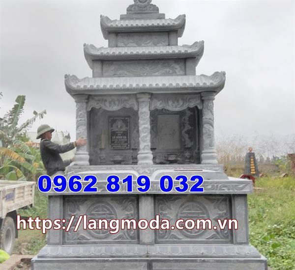 mộ đôi bằng đá thiết kế kiểu có mái che tại Đồng Nai