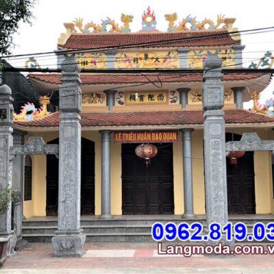 Mẫu cổng đá đẹp chạm khắc hoa văn tinh tế lắp đặt tại Bình Phước