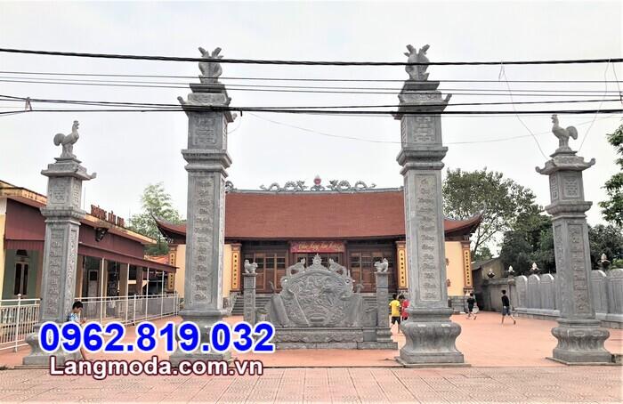 Mẫu cổng đá tam quan đẹp chạm khắc hoa văn tinh xảo xây dựng tại Vĩnh Long