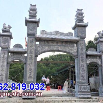 Mẫu cổng tam quan chùa bằng đá đẹp được lắp đặt tại Hậu Giang
