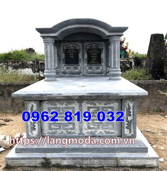 Mẫu mộ đá đôi đẹp giá rẻ chạm khắc hoa văn tinh xảo tại Bình Định