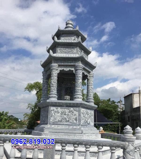 Giá xây dựng tháp mộ để hũ tro cốt bằng đá xanh tự nhiên nguyên khối