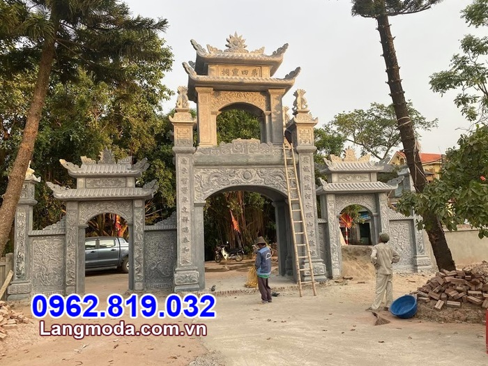 Mẫu cổng tam quan chùa bằng đá