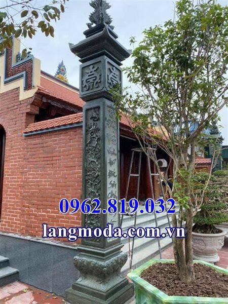 Mẫu cột đồng trụ đá xanh rêu nhà thờ họ, cột đồng trụ đá